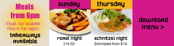 Meal specials at Cobdogla Club